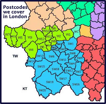Southwest London Plumber map of areas covered